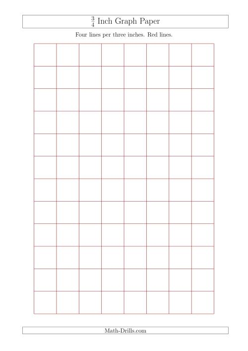 The 3/4 Inch Graph Paper with Red Lines (A4 Size) (Red) Math Worksheet