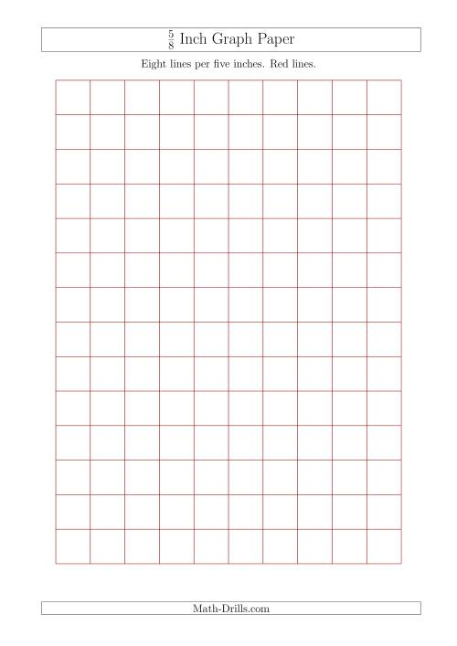 The 5/8 Inch Graph Paper with Red Lines (A4 Size) (Red) Math Worksheet