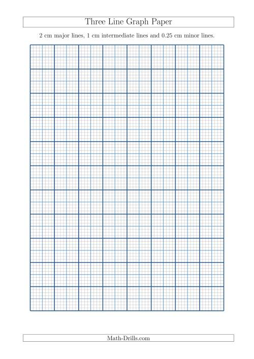 The Three Line Graph Paper with 2 cm Major Lines, 1 cm Intermediate Lines and 0.25 cm Minor Lines (A4 Size) (A) Math Worksheet