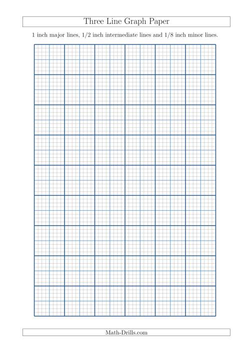 The Three Line Graph Paper with 1 inch Major Lines, 1/2 inch Intermediate Lines and 1/8 inch Minor Lines (A4 Size) (A) Math Worksheet