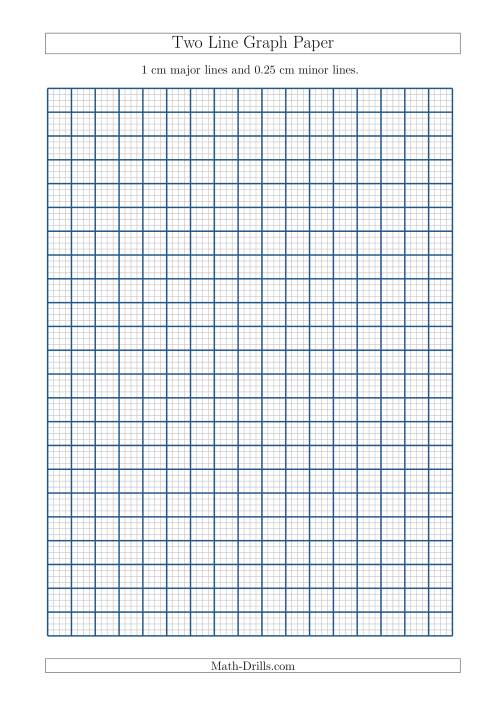 The Two Line Graph Paper with 1 cm Major Lines and 0.25 cm Minor Lines (A4 Size) (A) Math Worksheet