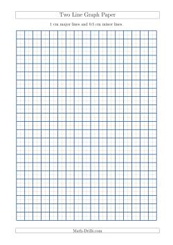 Two Line Graph Paper with 1 cm Major Lines and 0.5 cm Minor Lines (A4 Size)
