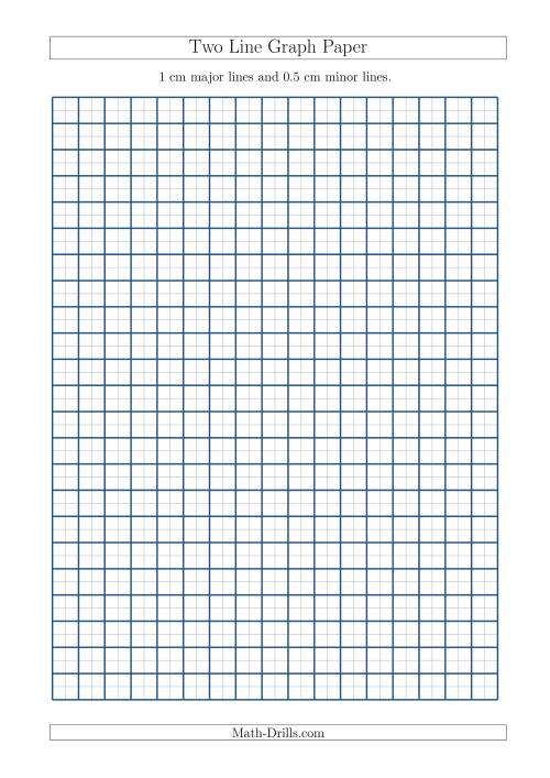 The Two Line Graph Paper with 1 cm Major Lines and 0.5 cm Minor Lines (A4 Size) (A) Math Worksheet