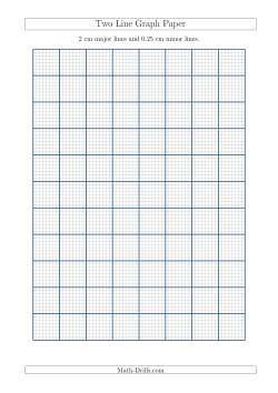 Two Line Graph Paper with 2 cm Major Lines and 0.25 cm Minor Lines (A4 Size)
