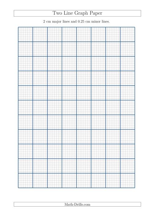 The Two Line Graph Paper with 2 cm Major Lines and 0.25 cm Minor Lines (A4 Size) (A) Math Worksheet