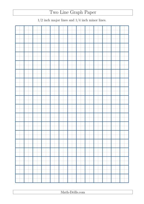 The Two Line Graph Paper with 1/2 inch Major Lines and 1/4 inch Minor Lines (A4 Size) (A) Math Worksheet