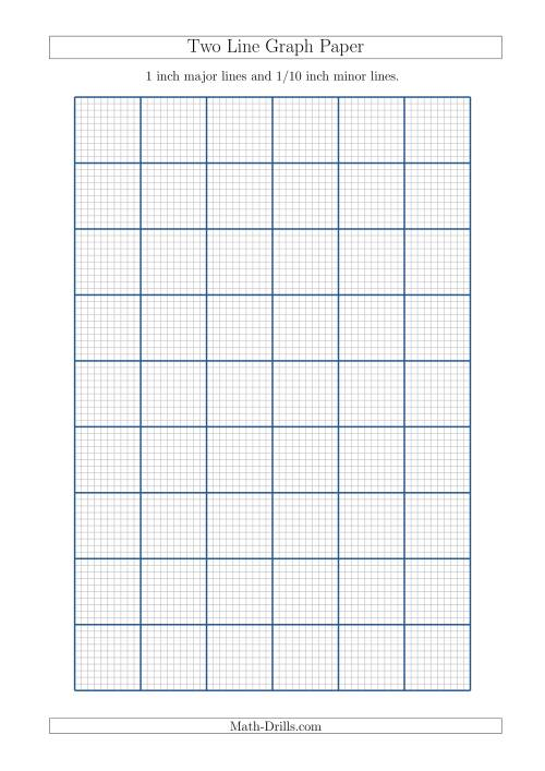 two line graph paper with 1 inch major lines and 1 10 inch minor