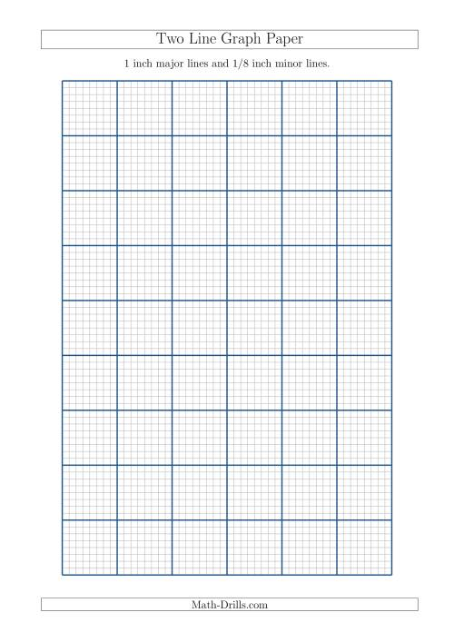The Two Line Graph Paper with 1 inch Major Lines and 1/8 inch Minor Lines (A4 Size) (A) Math Worksheet