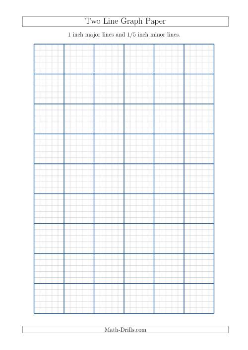 The Two Line Graph Paper with 1 inch Major Lines and 1/5 inch Minor Lines (A4 Size) (A) Math Worksheet