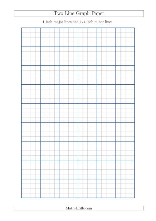 The Two Line Graph Paper with 1 inch Major Lines and 1/4 inch Minor Lines (A4 Size) (A) Math Worksheet