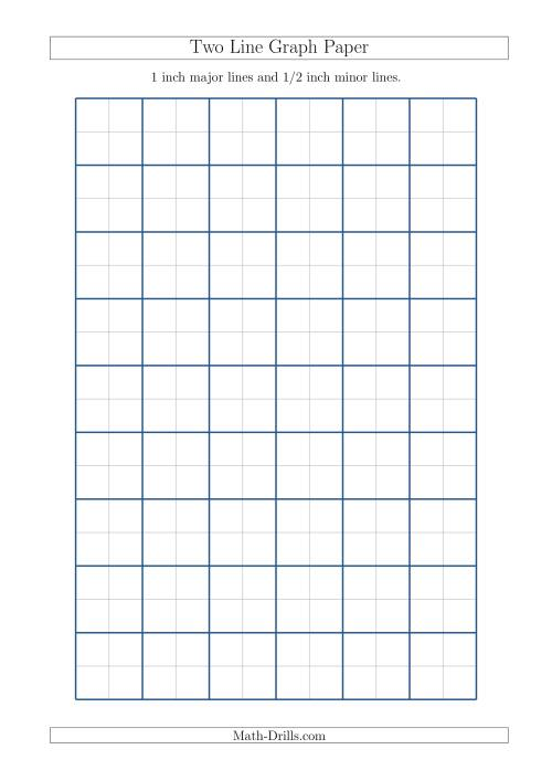 The Two Line Graph Paper with 1 inch Major Lines and 1/2 inch Minor Lines (A4 Size) (A) Math Worksheet
