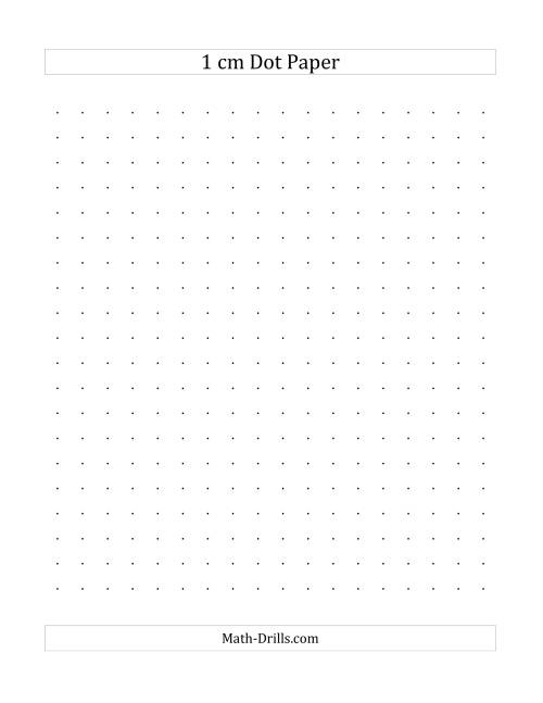 The 1 cm Dot Paper (A) Math Worksheet
