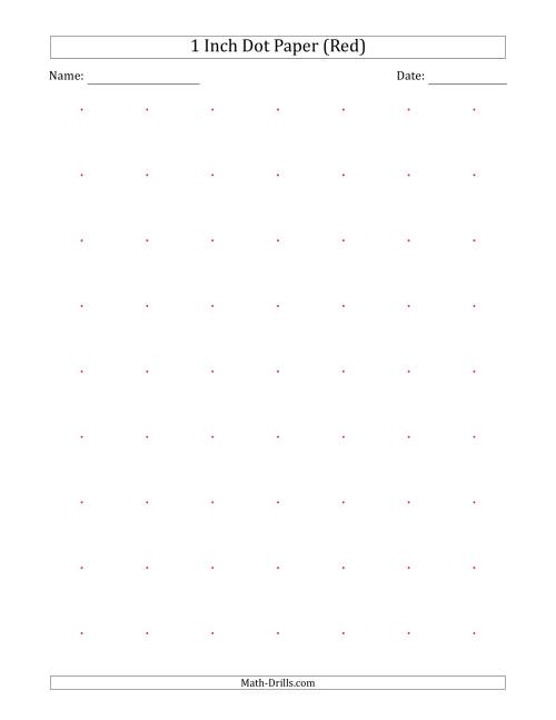 The 1 Inch Dot Paper (Red) (Red) Math Worksheet