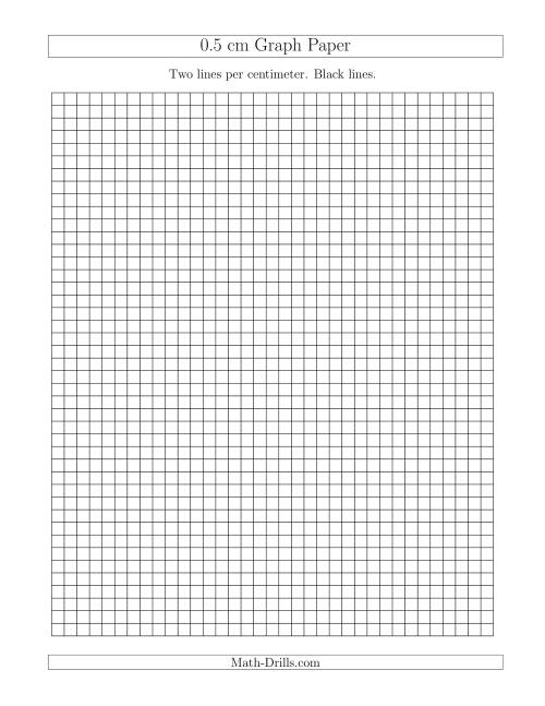 The 0.5 cm Graph Paper with Black Lines (A) Math Worksheet