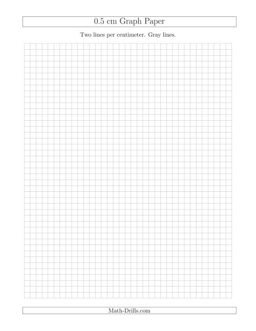 The 0.5 cm Graph Paper with Gray Lines (Gray) Math Worksheet