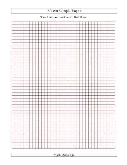 The 0.5 cm Graph Paper with Red Lines (Red) Math Worksheet