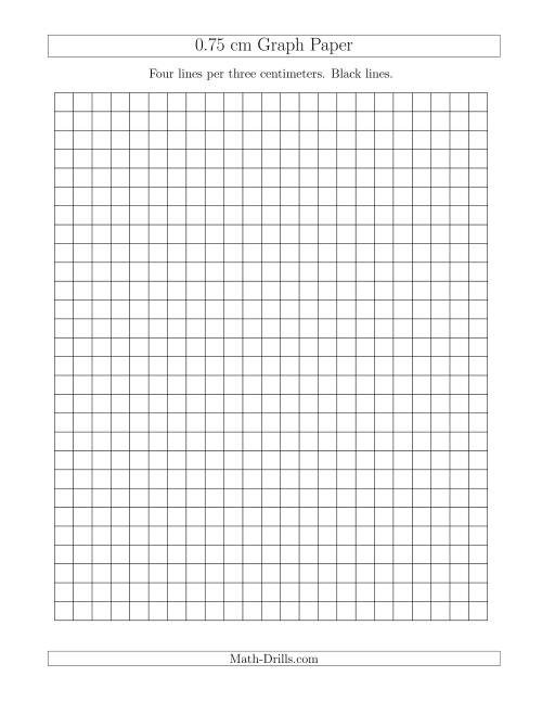 The 0.75 cm Graph Paper with Black Lines (A) Math Worksheet