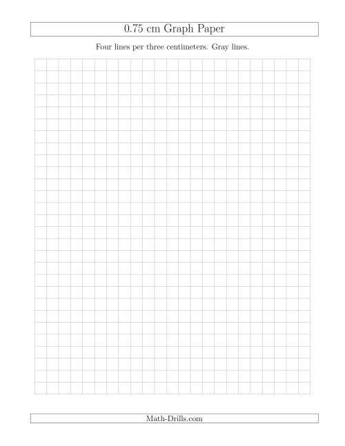 The 0.75 cm Graph Paper with Gray Lines (Gray) Math Worksheet