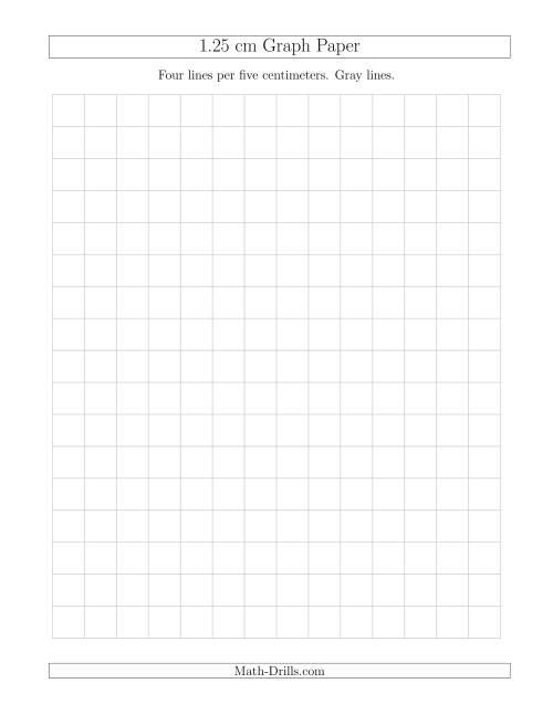 The 1.25 cm Graph Paper with Gray Lines (Gray) Math Worksheet