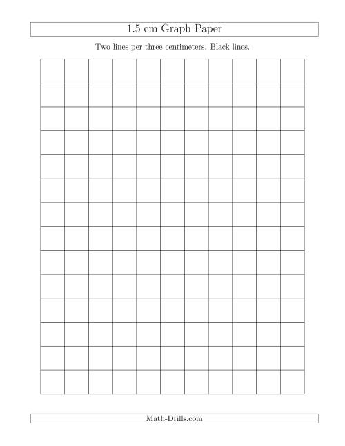 The 1.5 cm Graph Paper with Black Lines (A) Graph Paper