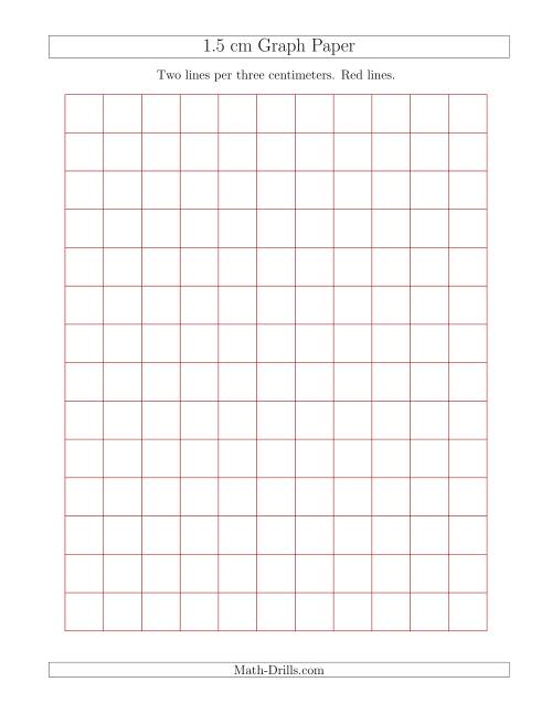 The 1.5 cm Graph Paper with Red Lines (Red) Math Worksheet