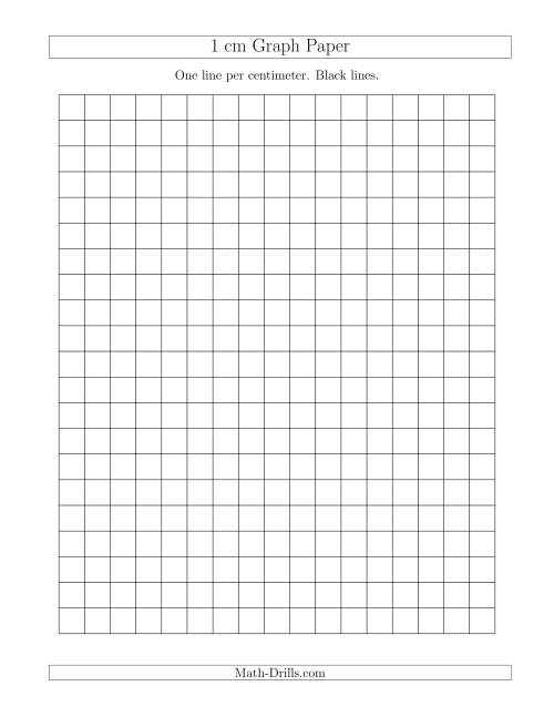 The 1 cm Graph Paper with Black Lines (A) Math Worksheet