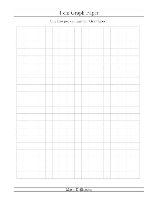 The 1 cm Graph Paper with Gray Lines (Gray) Math Worksheet