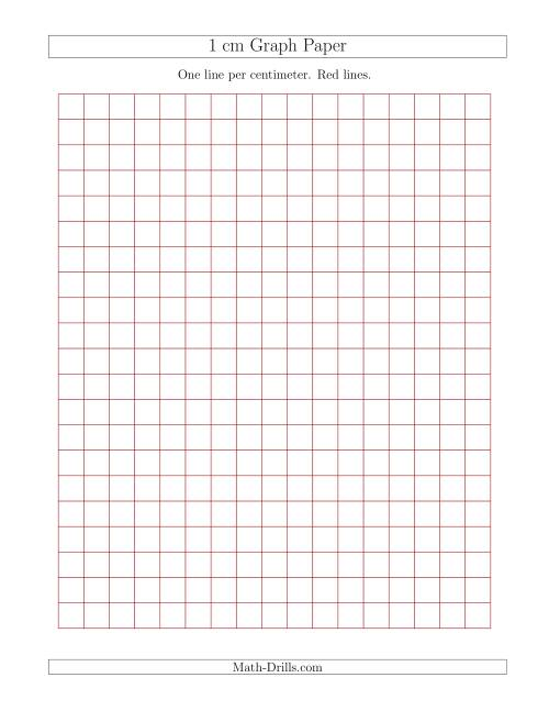The 1 cm Graph Paper with Red Lines (Red) Math Worksheet