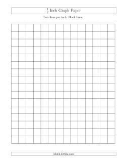 1/2 Inch Graph Paper With Black Lines  Math Grid Paper Template