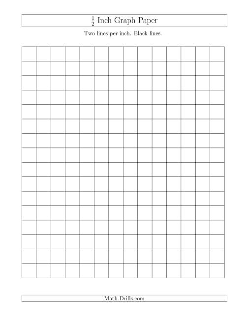 The 1/2 Inch Graph Paper with Black Lines (A) Math Worksheet