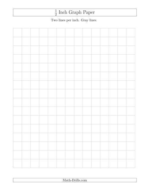 The 1/2 Inch Graph Paper with Gray Lines (Gray) Math Worksheet