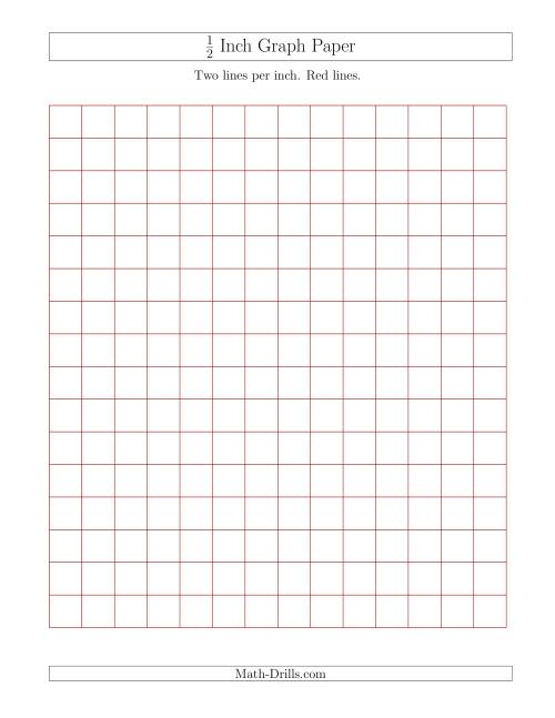 The 1/2 Inch Graph Paper with Red Lines (Red) Math Worksheet
