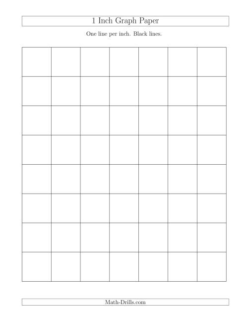 The 1 Inch Graph Paper with Black Lines (A) Math Worksheet