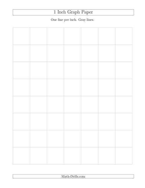 The 1 Inch Graph Paper with Gray Lines (Gray) Math Worksheet