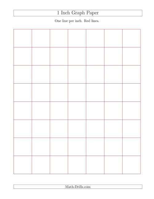The 1 Inch Graph Paper with Red Lines (Red) Math Worksheet