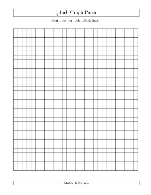 The 1/4 Inch Graph Paper with Black Lines (A) Graph Paper