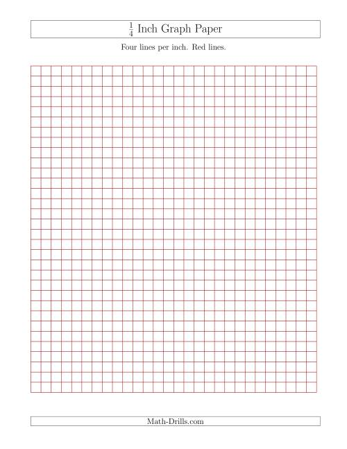 The 1/4 Inch Graph Paper with Red Lines (Red) Math Worksheet
