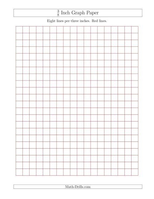 The 3/8 Inch Graph Paper with Red Lines (Red) Math Worksheet