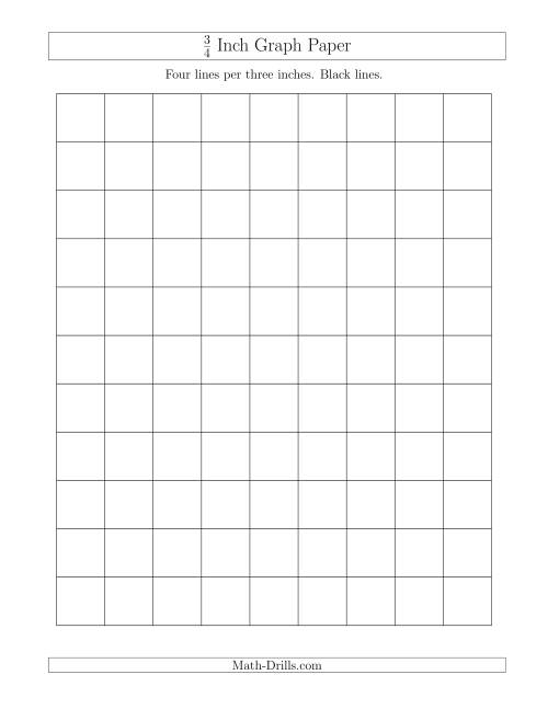 The 3/4 Inch Graph Paper with Black Lines (A) Graph Paper