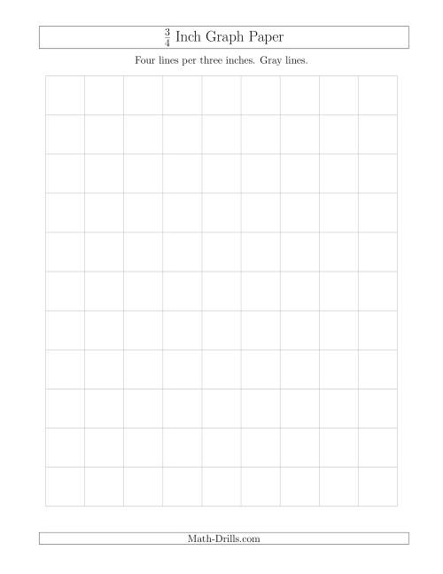 The 3/4 Inch Graph Paper with Gray Lines (Gray) Math Worksheet