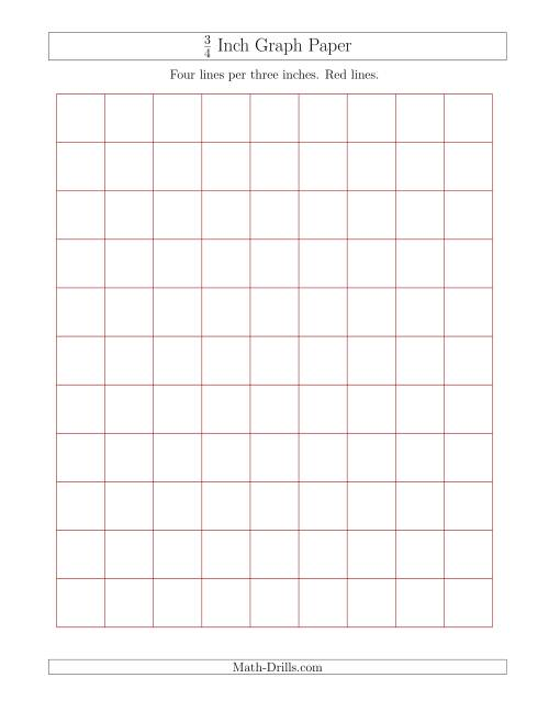 The 3/4 Inch Graph Paper with Red Lines (Red) Math Worksheet