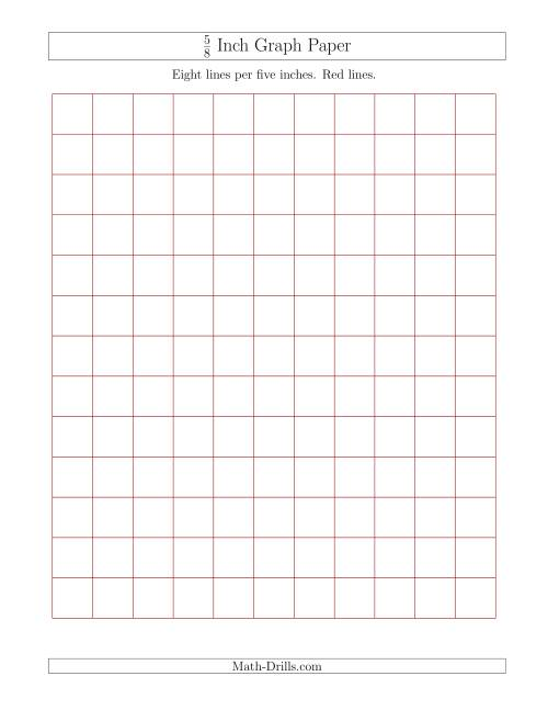 The 5/8 Inch Graph Paper with Red Lines (Red) Math Worksheet