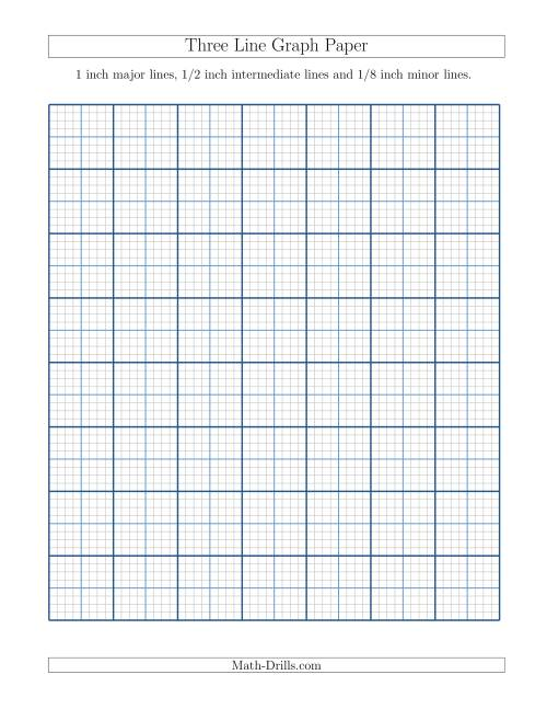 Graph Paper with 1 inch Major Lines, 1/2 inch Intermediate Lines and 1 ...