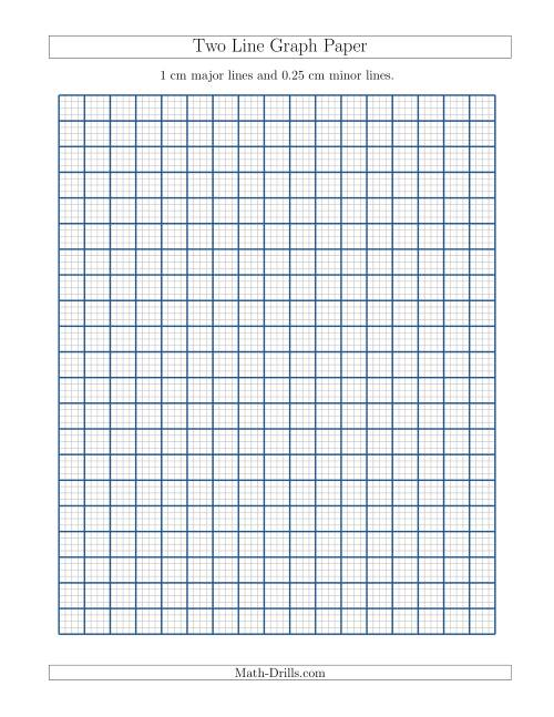The Two Line Graph Paper with 1 cm Major Lines and 0.25 cm Minor Lines (A) Math Worksheet
