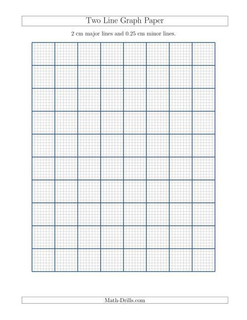 The Two Line Graph Paper with 2 cm Major Lines and 0.25 cm Minor Lines (A) Math Worksheet