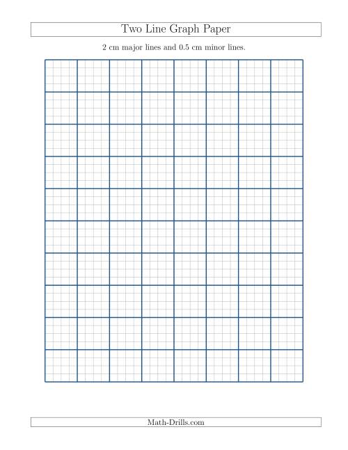 The Two Line Graph Paper with 2 cm Major Lines and 0.5 cm Minor Lines (A) Math Worksheet