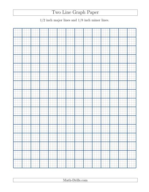 The Two Line Graph Paper with 1/2 inch Major Lines and 1/8 inch Minor Lines (A) Math Worksheet