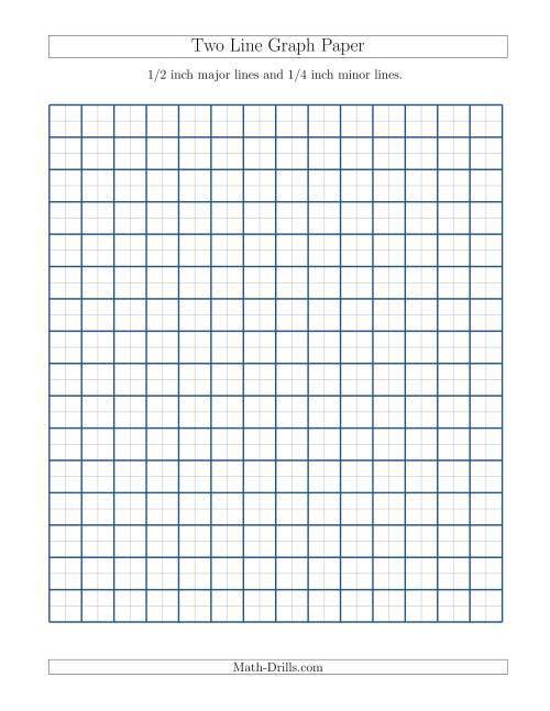 The Two Line Graph Paper with 1/2 inch Major Lines and 1/4 inch Minor Lines (A) Math Worksheet