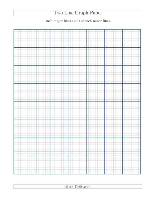 The Two Line Graph Paper with 1 inch Major Lines and 1/8 inch Minor Lines (A) Math Worksheet