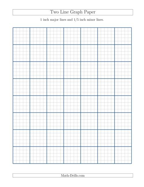 The Two Line Graph Paper with 1 inch Major Lines and 1/5 inch Minor Lines (A) Math Worksheet